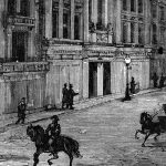 Electric lights illuminating street in 19th century